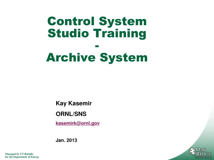 control system studio training archive system n.