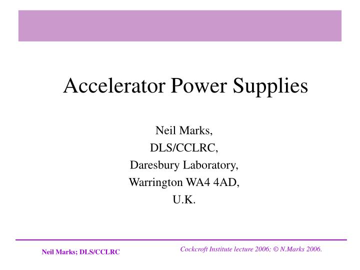 accelerator power supplies n.