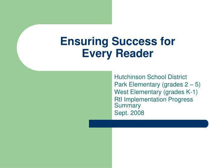ensuring success for every reader n.