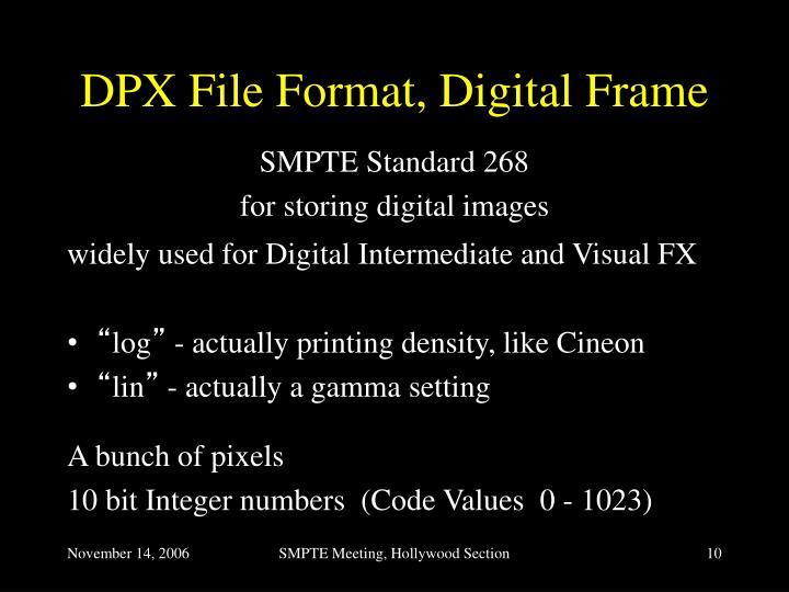 DPX File Format, Digital Frame