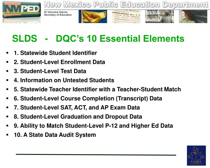 SLDS   -   DQC's 10 Essential Elements
