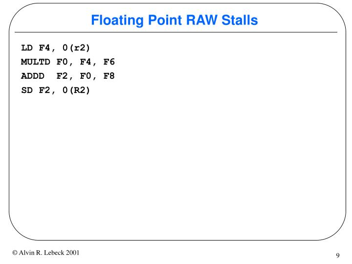 Floating Point RAW Stalls