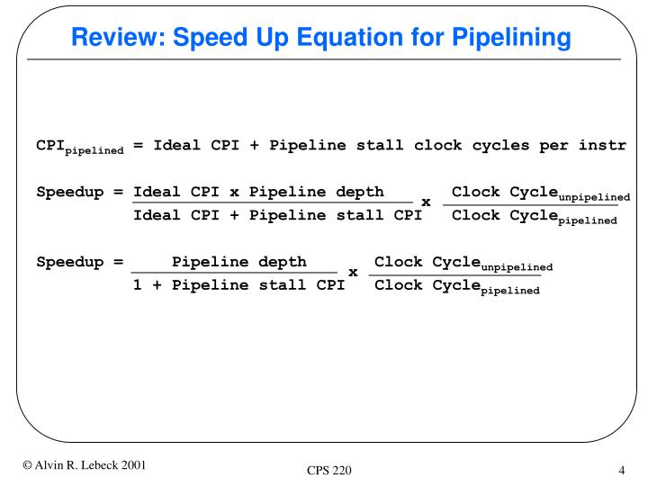 Review: Speed Up Equation for Pipelining