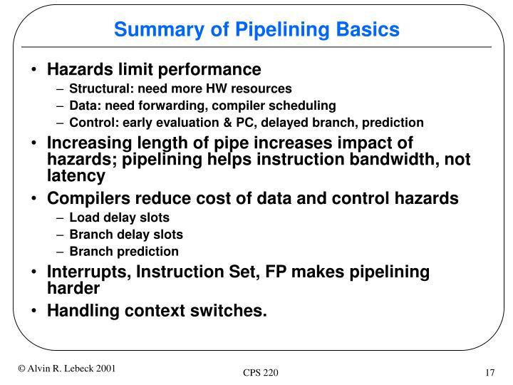 Summary of Pipelining Basics