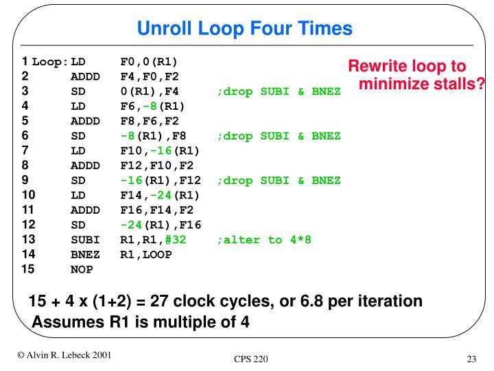Unroll Loop Four Times