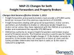 map 21 changes for both freight forwarders and property brokers