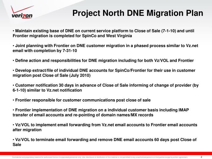 Project north dne migration plan
