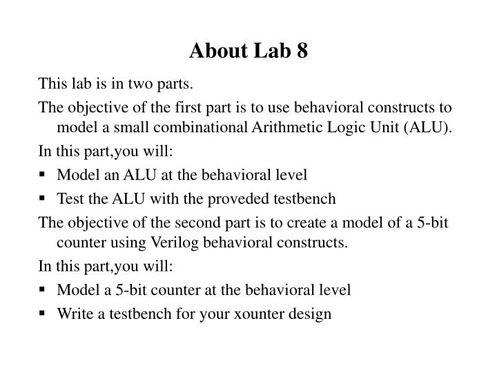 About Lab 8