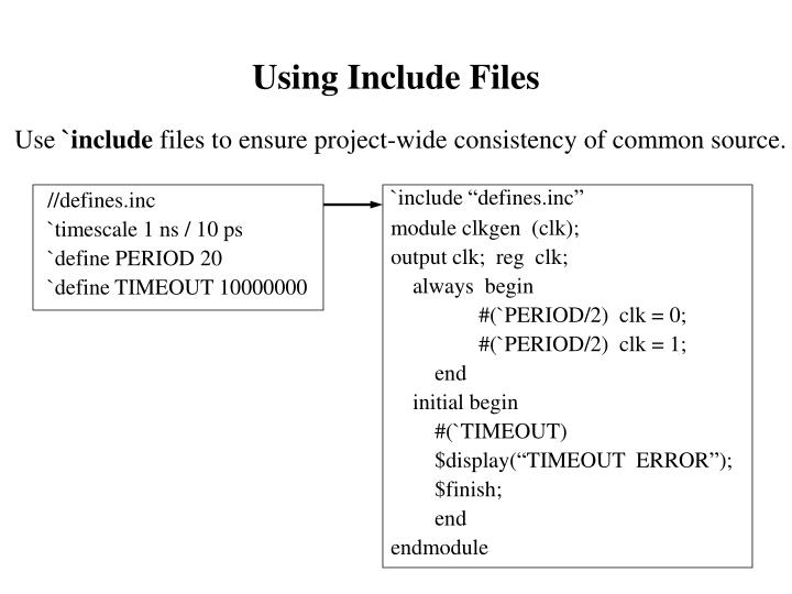 Using Include Files