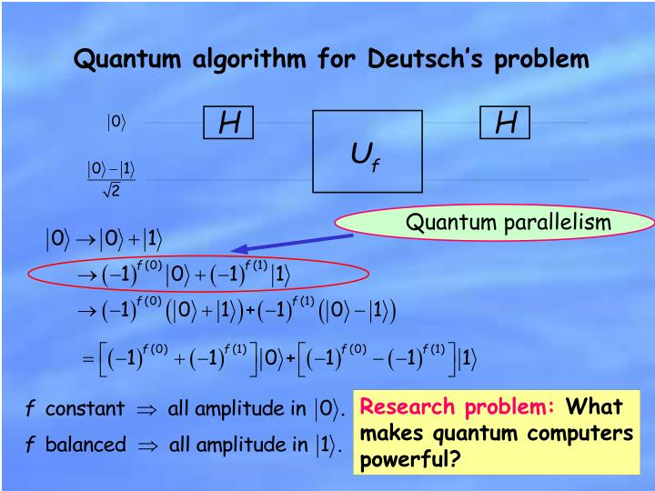 Quantum algorithm for Deutsch's problem
