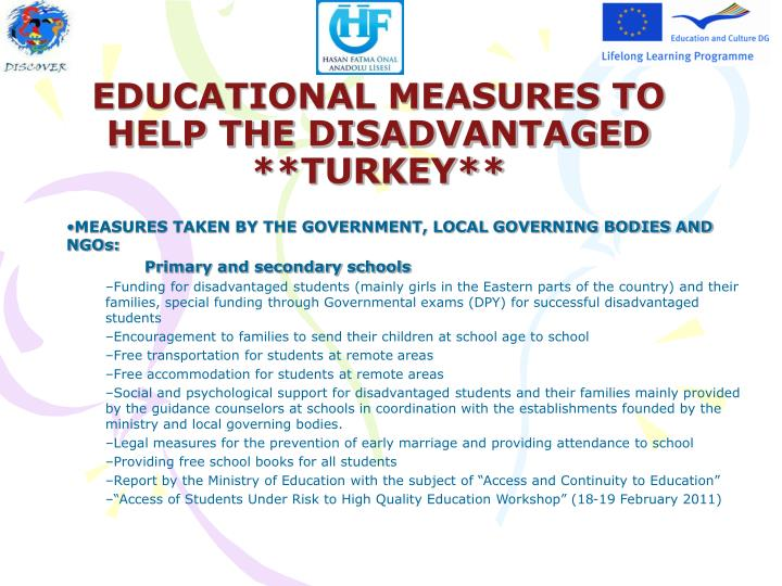 educational measures to help the disadvantaged turkey n.