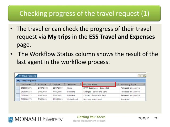 Checking progress of the travel request (1)