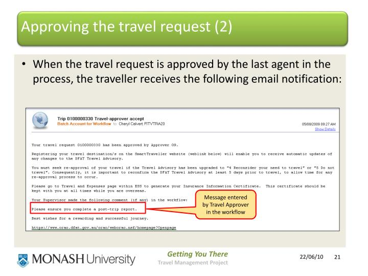 Approving the travel request (2)