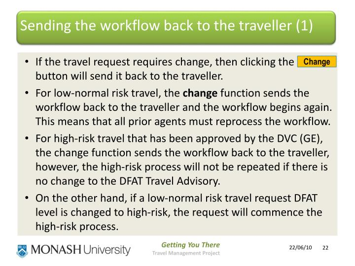 Sending the workflow back to the traveller (1)