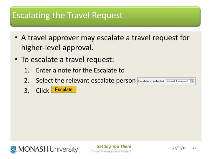 Escalating the Travel Request