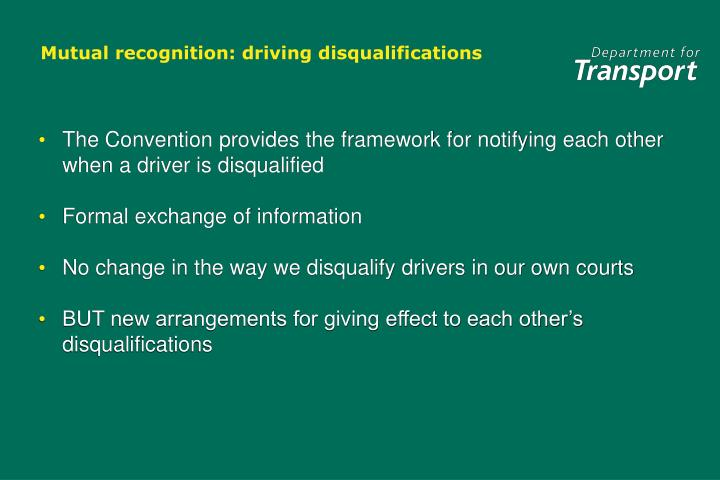 Mutual recognition driving disqualifications