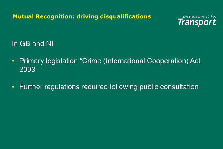 Mutual recognition driving disqualifications1
