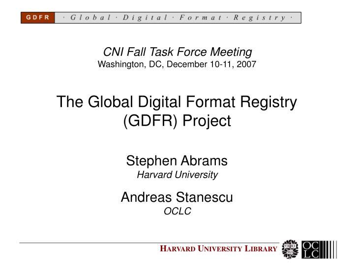 the global digital format registry gdfr project n.
