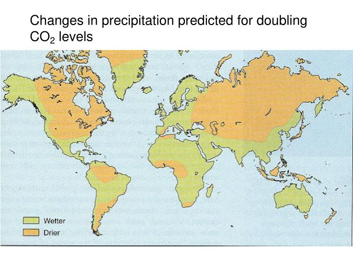 Changes in precipitation predicted for doubling CO