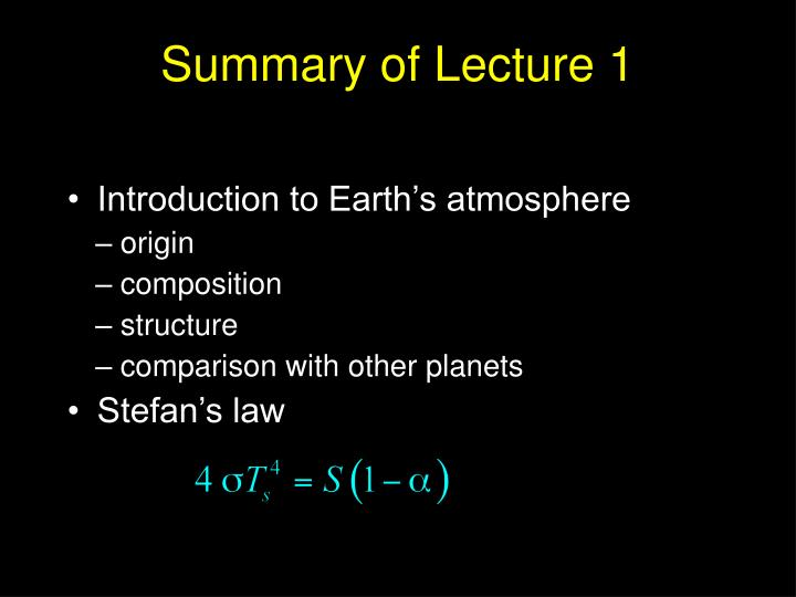 Summary of lecture 1