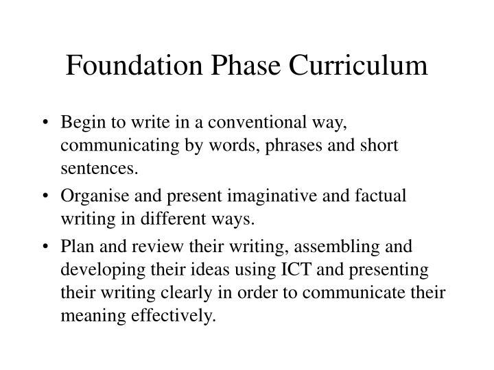 Foundation phase curriculum