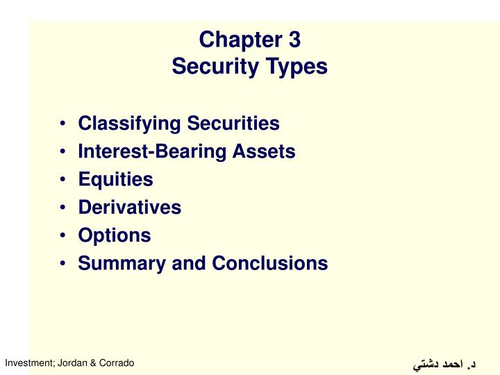 Chapter 3 security types
