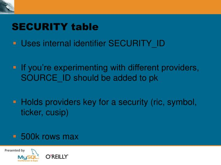 SECURITY table