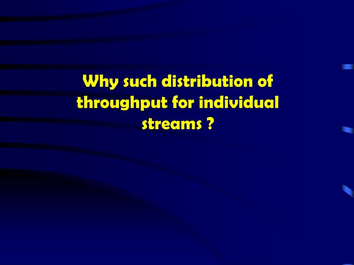 Why such distribution of throughput for individual streams ?