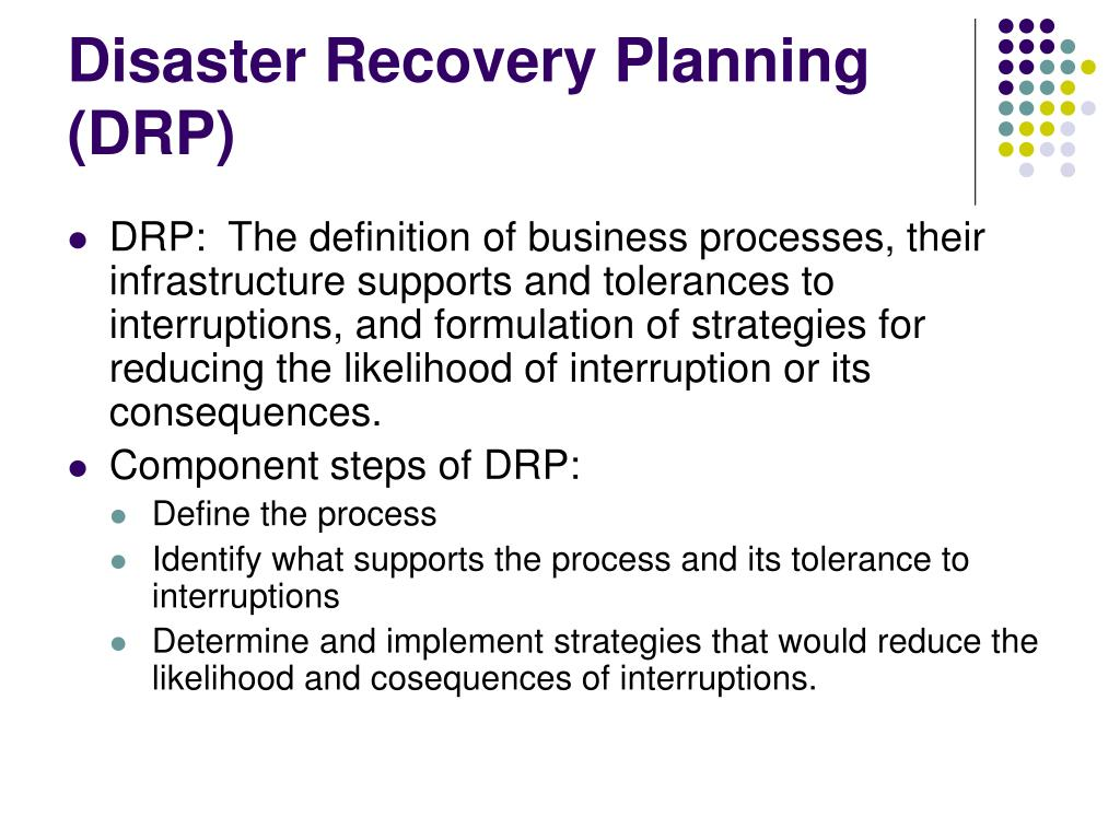 ppt - disaster recovery planning (drp) powerpoint presentation - id