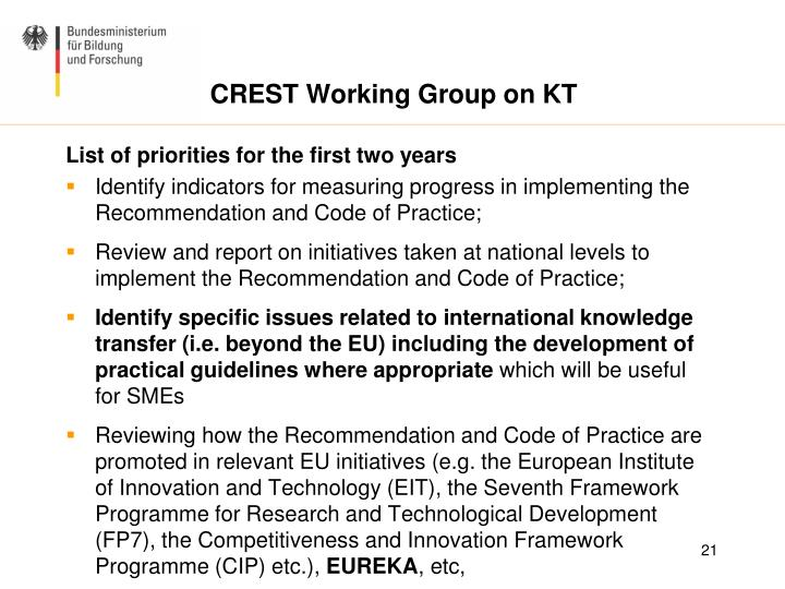 CREST Working Group on KT