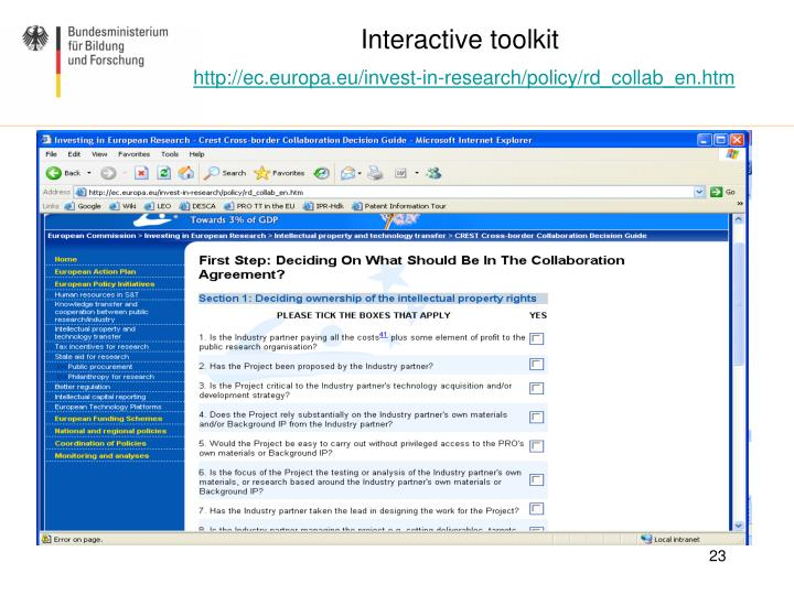Interactive toolkit