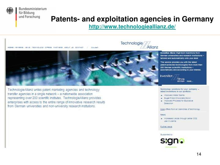 Patents- and exploitation agencies in Germany