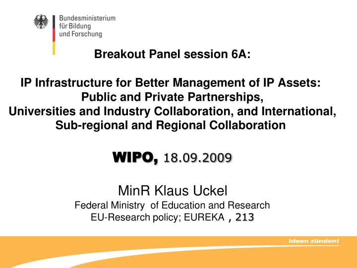 Breakout Panel session 6A: