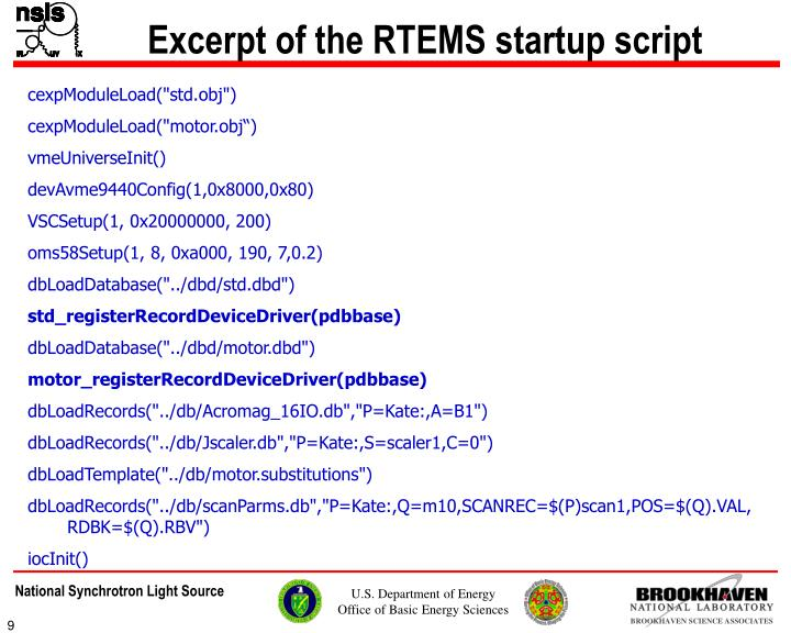 Excerpt of the RTEMS startup script