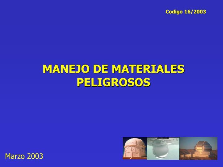 manejo de materiales peligrosos
