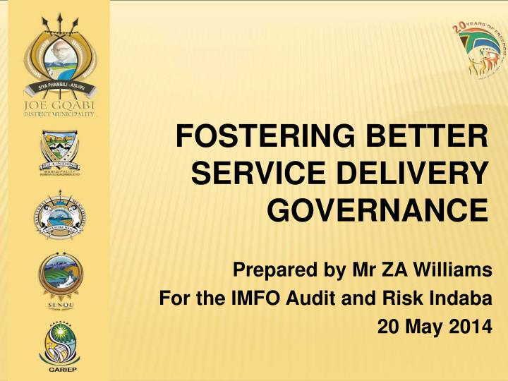 fostering better service delivery governance n.