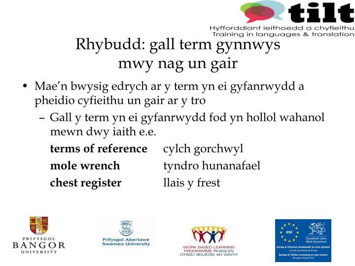 Rhybudd: gall term gynnwys
