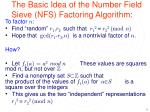 the basic idea of the number field sieve nfs factoring algorithm
