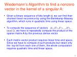 wiedemann s algorithm to find a nonzero vector in the kernel of a singular a