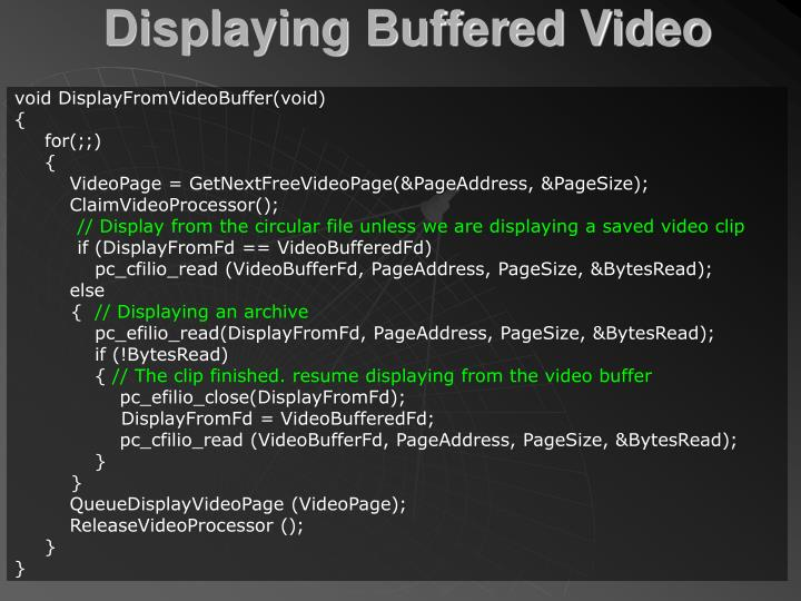 Displaying Buffered Video