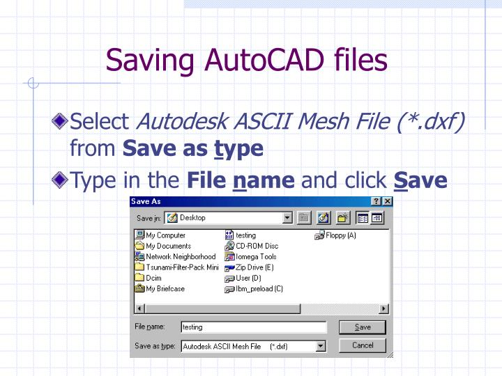 Saving AutoCAD files