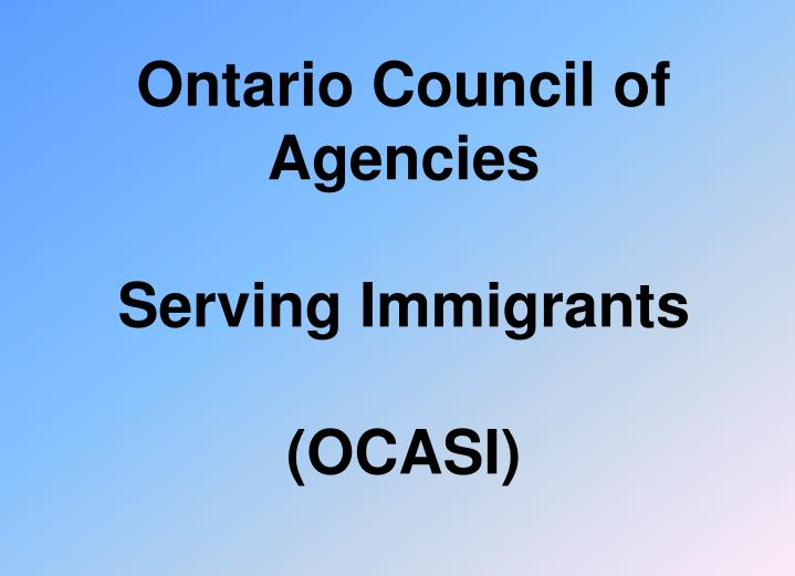 ontario council of agencies serving immigrants ocasi n.