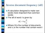 inverse document frequency idf