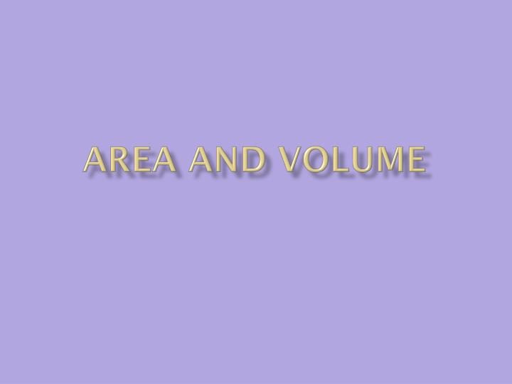 area and volume n.