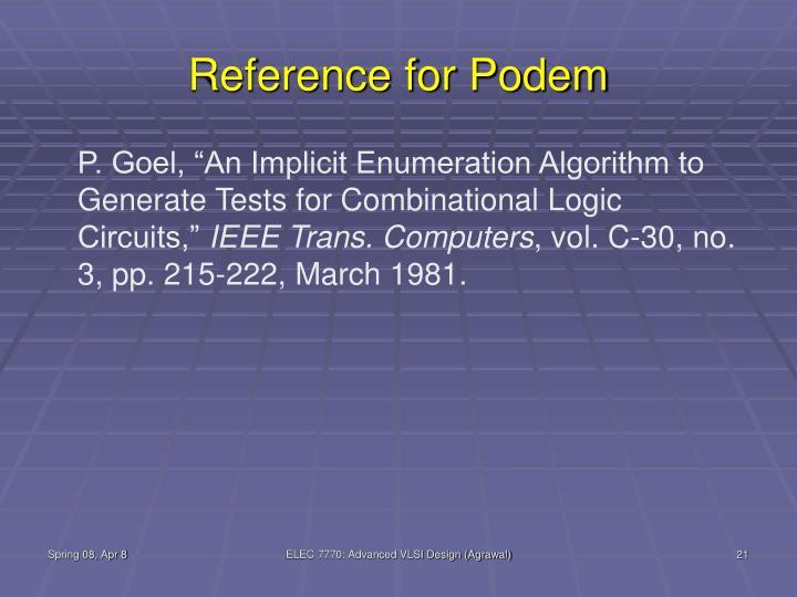 Reference for Podem