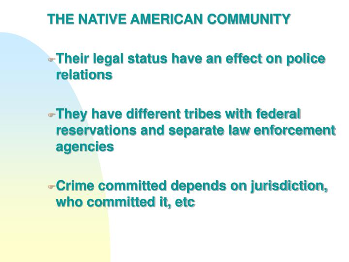 THE NATIVE AMERICAN COMMUNITY