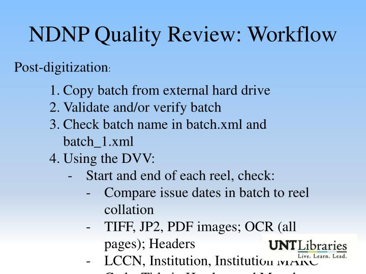 NDNP Quality Review: Workflow