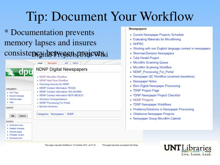 Tip: Document Your Workflow