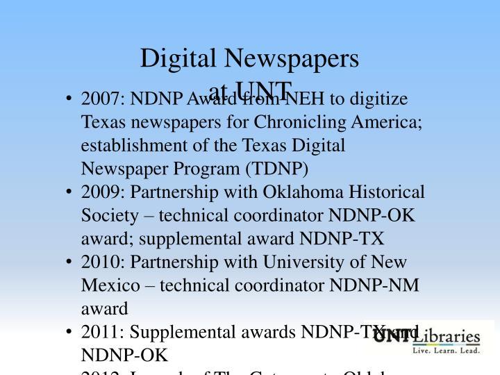 Digital Newspapers at UNT