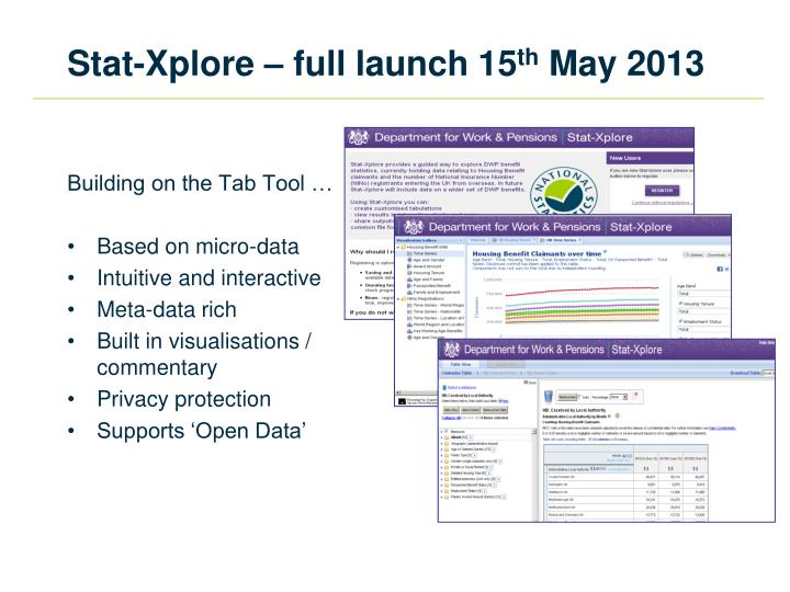 Stat xplore full launch 15 th may 2013